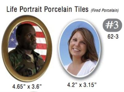 62-3 Life Portrait Porcelain Tile With Bronze Rin