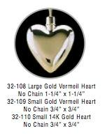 32-109 Small Gold Vermil Heart